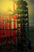 Agricultural equipment in sunset light. Detail 12 — Stock Photo