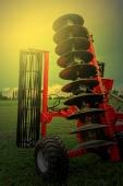 Agricultural equipment in sunset light. Detail 22 — Stock Photo