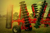 Agricultural equipment in sunset light. Detail 4 — Stock Photo