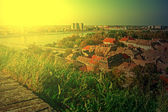 Cityscape in Novi Sad, Serbia, in sunset light — Stock Photo