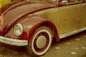 Gamla vykort med en gammal tysk bil — Stockfoto