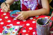Children painting pottery 13 — Stock Photo