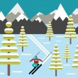 Skier slides from the mountain vector illustration — Stock Vector #52728193