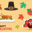 Thanksgiving vector icons set. Leaves, turkey, pilgrim hat — Stock Vector #52729171