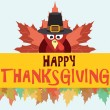 Happy thanksgiving turkey with leaves, vector card — Stock Vector #52729423