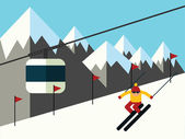Skier slides from the mountain vector illustration — Stock Vector