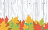 Buntes Herbstlaub auf Holz Plank, Vektor — Stockvektor