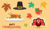 Thanksgiving vector icons set. Leaves, turkey, pilgrim hat — Stock Vector