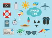 Summer time set with vacation accessories or icons — 图库矢量图片