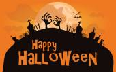 Halloween background. Vector illustration with cemetary — Vector de stock