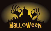 Halloween background. Vector illustration with cemetery — Vector de stock