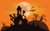 Halloween background. Vector illustration with castle — Vector de stock