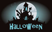 Halloween background. Vector illustration with castle — Vetorial Stock