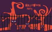 Halloween party background vector poster — Vector de stock