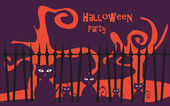 Halloween party background vector poster — Vettoriale Stock