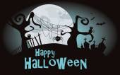 Halloween background. Vector illustration with scary forest — Vetorial Stock