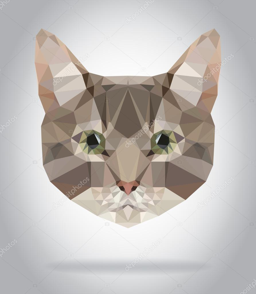 Geometric Cat Head Cat Head Vector Isolated