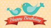 Doğum günü, vektör çizim için şirin kart — Stok Vektör