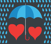 Love hearts walking under umbrella in the rain — Stock Vector