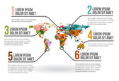 World map infographic, vector illustration — Vetor de Stock