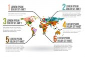 World map infographic, vector illustration — Stockvektor