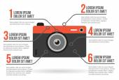 Photographic camera infographic, vector illustration — Stock Vector