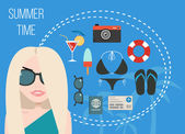 Set of vacation vector icons, summer time concept — Stockvektor