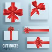 Set of gift boxes with bows and ribbons, vector — Stock Vector
