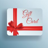 Paper gift card with red bow, vector icon — Stock Vector