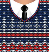 Jacquard knitted sweater and white shirt with tie — Cтоковый вектор