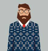 Hipster man in knitted jacquard sweater, vector — Cтоковый вектор