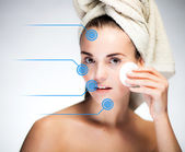 Skin care and healthy face with infographic arrows — Stock Photo