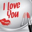 I love You written on mirror by lipstick, vector — Stock Vector #65883545