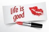 Жизнь это хорошо написано записка помады с kiss — Cтоковый вектор