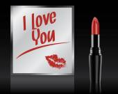 I love You written on mirror by lipstick, vector — Stock Vector