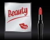 Beauty written on mirror by lipstick, vector — Stock Vector