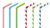 Colorful drinking straws, vector set — Stock Vector