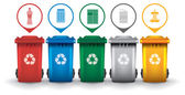 Colorful recycle trash bins with garbage icons vector set — Stock Vector