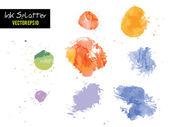 Bunte Wasserfarbe oder Tinte Flecken Spritzer Vektor — Stockvektor
