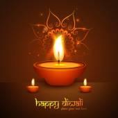 Happy diwali beautiful illuminating Diya vector background — Stock Vector