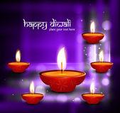 Beautiful happy diwali shiny diya bright colorful celebration hi — Stock Vector