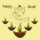 Beautiful diwali card colorful artistic Lord Ganesha background  — Stockvektor