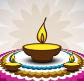 Rangoli and a decorated illuminated diwali diya card background  — Stock Vector