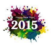 Happy New Year 2015 colorful grunge celebration beautiful card v — Stockvektor
