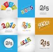 Holiday collection for Happy New Year 2015 beautiful greeting ca — Stockvector