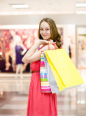 With shopping bags in a supermarket — Stock Photo