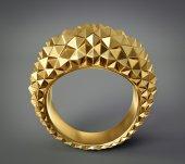 Golden 3d ring — Stock Photo