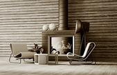3d modern room interior — Stock Photo