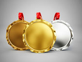 Trophy medals isolated on grey — Stock Photo
