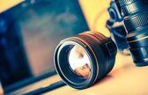 Photographer Desk Lenses — Stock Photo